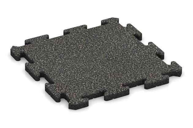 Fitness-Bodenschutzmatte pro von WARCO im Farbdesign Dunkelgrauer Granit mit den Abmessungen 500 x 500 x 30 mm. Produktfoto von Artikel 2753 in der Aufsicht von schräg vorne.