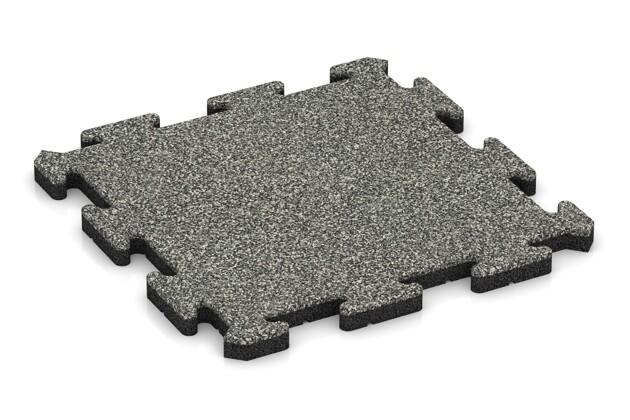 Fitness-Bodenschutzmatte von WARCO im Farbdesign Grauer Granit mit den Abmessungen 500 x 500 x 30 mm. Produktfoto von Artikel 2740 in der Aufsicht von schräg vorne.