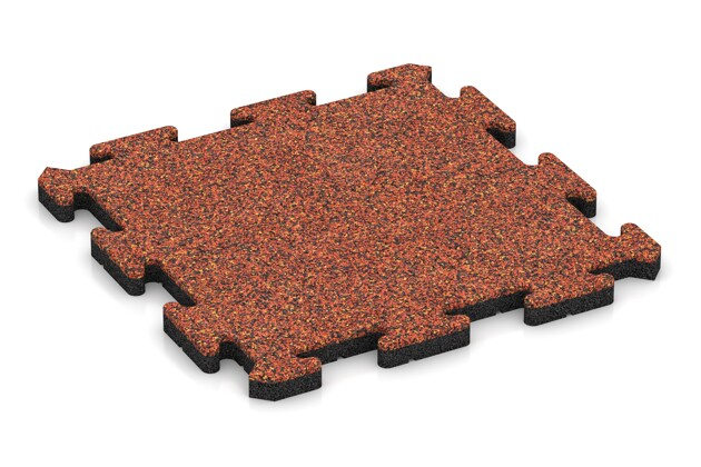 Fitness-Bodenschutzmatte von WARCO im Farbdesign Feuersglut mit den Abmessungen 500 x 500 x 30 mm. Produktfoto von Artikel 2745 in der Aufsicht von schräg vorne.