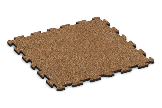 Spiel-Bodenbelag von WARCO im Farbdesign Terra Cotta mit den Abmessungen 1000 x 1000 x 30 mm. Produktfoto von Artikel 3216 in der Aufsicht von schräg vorne.