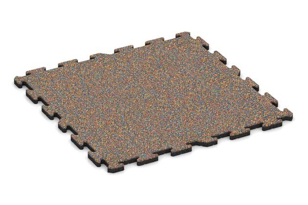 Spiel-Bodenbelag von WARCO im Farbdesign Papagei mit den Abmessungen 1000 x 1000 x 30 mm. Produktfoto von Artikel 3221 in der Aufsicht von schräg vorne.