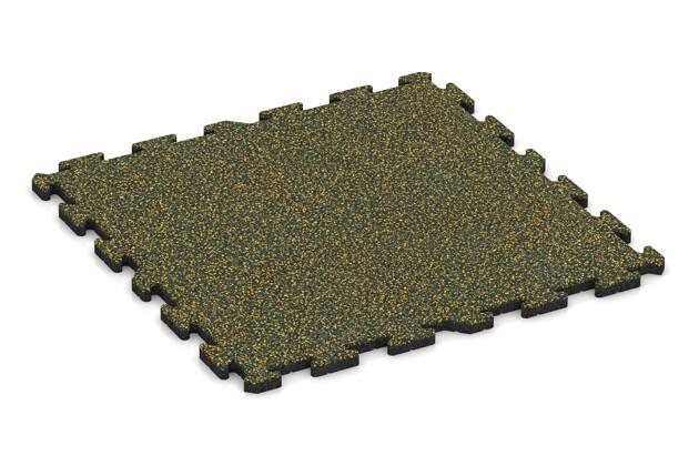 Spiel-Bodenbelag von WARCO im Farbdesign Löwenzahn mit den Abmessungen 1000 x 1000 x 30 mm. Produktfoto von Artikel 3223 in der Aufsicht von schräg vorne.