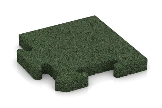 Eck-Abschlussplatte (Zuschnitt) von WARCO im Farbdesign grasgrün mit den Abmessungen 235 x 235 x 30 mm. Produktfoto von Artikel 4929 in der Aufsicht von schräg vorne.
