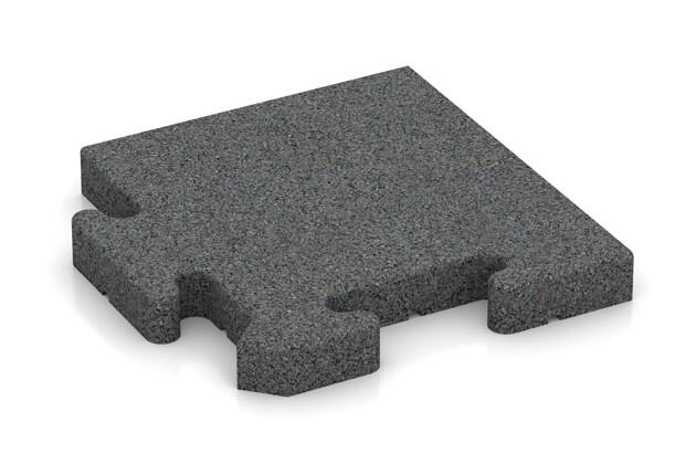 Eck-Abschlussplatte (Zuschnitt) von WARCO im Farbdesign schiefergrau mit den Abmessungen 235 x 235 x 30 mm. Produktfoto von Artikel 4930 in der Aufsicht von schräg vorne.