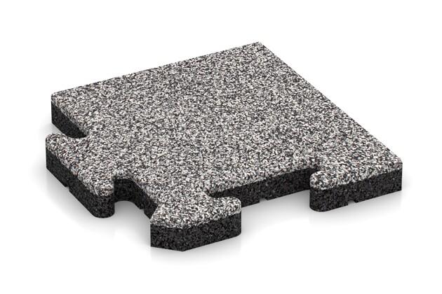 Eck-Abschlussplatte pro (Zuschnitt) von WARCO im Farbdesign Graue Melange mit den Abmessungen 235 x 235 x 30 mm. Produktfoto von Artikel 4850 in der Aufsicht von schräg vorne.