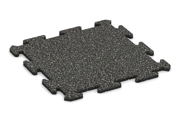 Fitness-Bodenschutzmatte pro von WARCO im Farbdesign Dunkelgrauer Granit mit den Abmessungen 500 x 500 x 18 mm. Produktfoto von Artikel 3883 in der Aufsicht von schräg vorne.