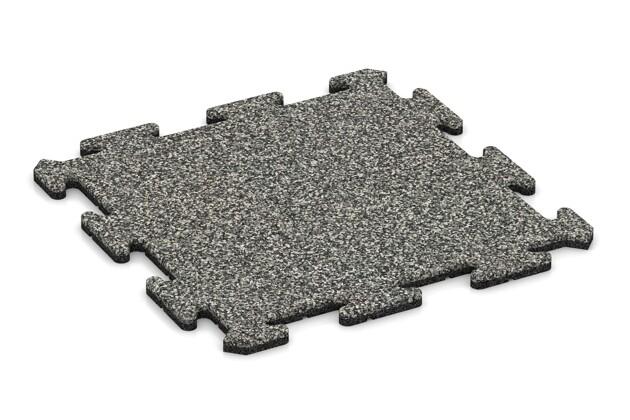 Fitness-Bodenschutzmatte von WARCO im Farbdesign Grauer Granit mit den Abmessungen 500 x 500 x 18 mm. Produktfoto von Artikel 0139 in der Aufsicht von schräg vorne.
