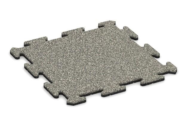 Fitness-Bodenschutzmatte pro von WARCO im Farbdesign Heller Granit mit den Abmessungen 500 x 500 x 18 mm. Produktfoto von Artikel 3885 in der Aufsicht von schräg vorne.