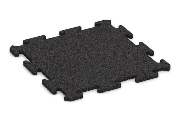 Fitness-Bodenschutzmatte von WARCO im Farbdesign anthrazit mit den Abmessungen 500 x 500 x 18 mm. Produktfoto von Artikel 0188 in der Aufsicht von schräg vorne.