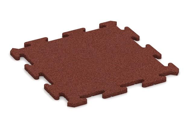 Sportboden-Platte von WARCO im Farbdesign ziegelrot mit den Abmessungen 500 x 500 x 18 mm. Produktfoto von Artikel 4224 in der Aufsicht von schräg vorne.
