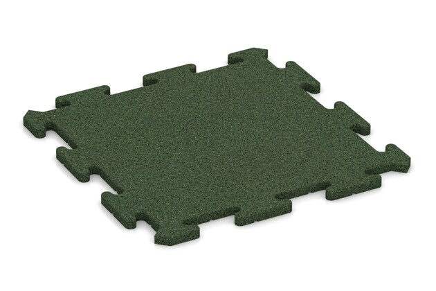 Fitness-Bodenschutzmatte von WARCO im Farbdesign grasgrün mit den Abmessungen 500 x 500 x 18 mm. Produktfoto von Artikel 0190 in der Aufsicht von schräg vorne.