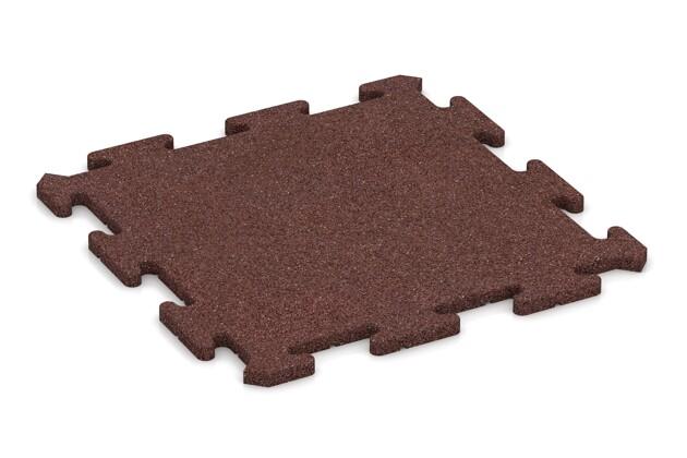 Fitness-Bodenschutzmatte von WARCO im Farbdesign schokobraun mit den Abmessungen 500 x 500 x 18 mm. Produktfoto von Artikel 0192 in der Aufsicht von schräg vorne.