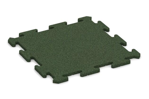 Fitness-Bodenschutzmatte pro von WARCO im Farbdesign grasgrün mit den Abmessungen 500 x 500 x 18 mm. Produktfoto von Artikel 0196 in der Aufsicht von schräg vorne.