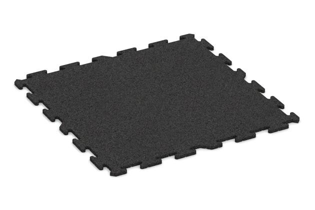 Fitness-Bodenschutzmatte pro von WARCO im Farbdesign anthrazit mit den Abmessungen 1000 x 1000 x 18 mm. Produktfoto von Artikel 0340 in der Aufsicht von schräg vorne.