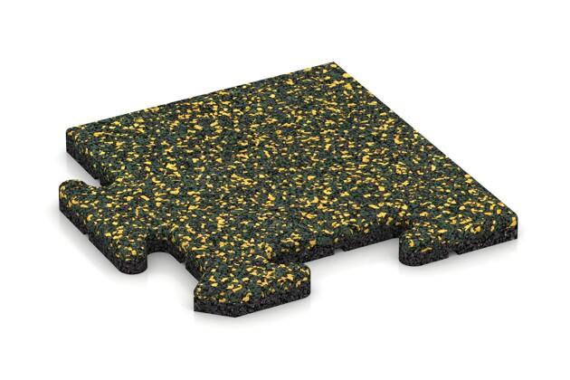 Eck-Abschlussplatte (Zuschnitt) von WARCO im Farbdesign Löwenzahn mit den Abmessungen 235 x 235 x 18 mm. Produktfoto von Artikel 4708 in der Aufsicht von schräg vorne.