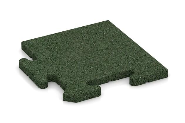 Eck-Abschlussplatte (Zuschnitt) von WARCO im Farbdesign grasgrün mit den Abmessungen 235 x 235 x 18 mm. Produktfoto von Artikel 4811 in der Aufsicht von schräg vorne.