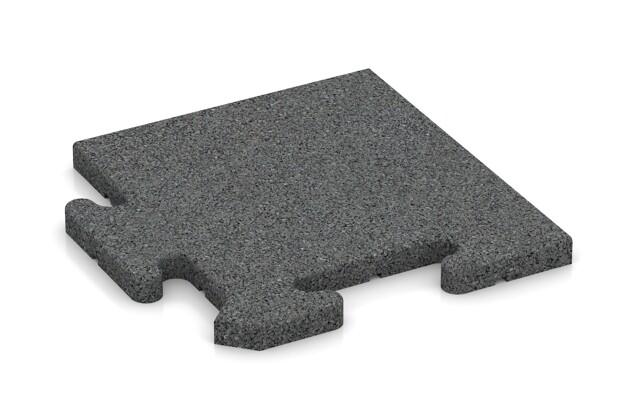 Eck-Abschlussplatte (Zuschnitt) von WARCO im Farbdesign schiefergrau mit den Abmessungen 235 x 235 x 18 mm. Produktfoto von Artikel 4812 in der Aufsicht von schräg vorne.