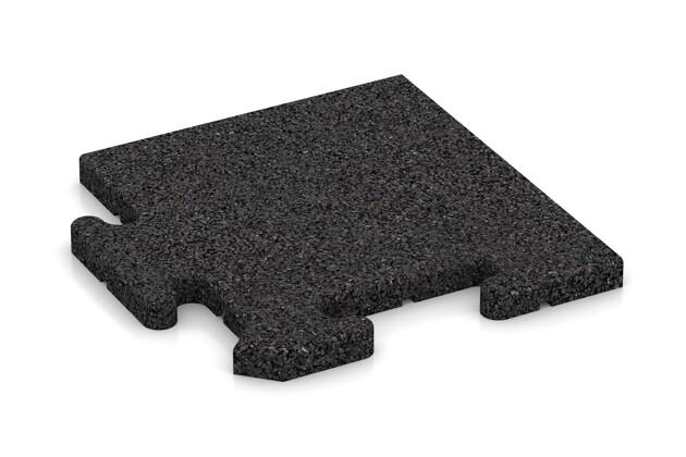 Eck-Abschlussplatte pro (Zuschnitt) von WARCO im Farbdesign Schwarz mit den Abmessungen 235 x 235 x 18 mm. Produktfoto von Artikel 4680 in der Aufsicht von schräg vorne.