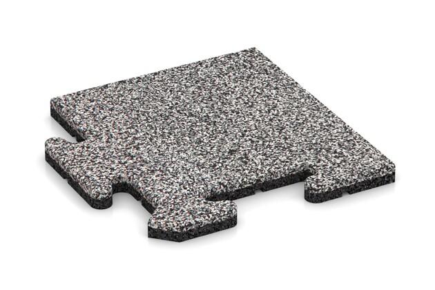 Eck-Abschlussplatte (Zuschnitt) von WARCO im Farbdesign Graue Melange mit den Abmessungen 235 x 235 x 18 mm. Produktfoto von Artikel 4682 in der Aufsicht von schräg vorne.