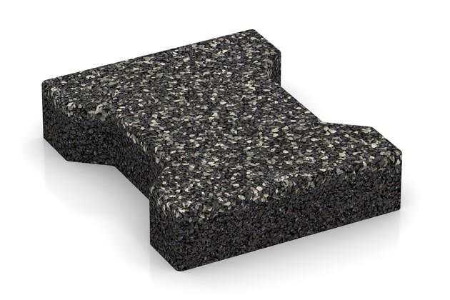 Gummi-Verbundpflaster von WARCO im Farbdesign Dunkelgrauer Granit mit den Abmessungen 200 x 165 x 43 mm. Produktfoto von Artikel 3575 in der Aufsicht von schräg vorne.