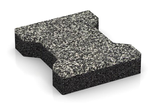 Gummi-Verbundpflaster von WARCO im Farbdesign Grauer Granit mit den Abmessungen 200 x 165 x 43 mm. Produktfoto von Artikel 3576 in der Aufsicht von schräg vorne.