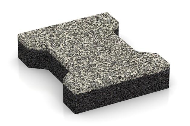 Gummi-Verbundpflaster von WARCO im Farbdesign Heller Granit mit den Abmessungen 200 x 165 x 43 mm. Produktfoto von Artikel 3577 in der Aufsicht von schräg vorne.