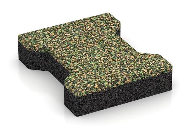Gummi-Verbundpflaster von WARCO im Farbdesign Savanne mit den Abmessungen 200 x 165 x 43 mm. Produktfoto von Artikel 3587 in der Aufsicht von schräg vorne.