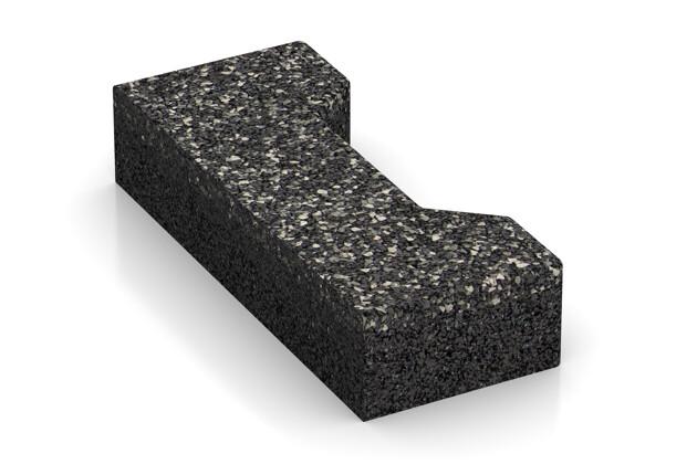Verbundpflaster-Hälfte längs von WARCO im Farbdesign Dunkelgrauer Granit mit den Abmessungen 200 x 82 x 43 mm. Produktfoto von Artikel 3696 in der Aufsicht von schräg vorne.