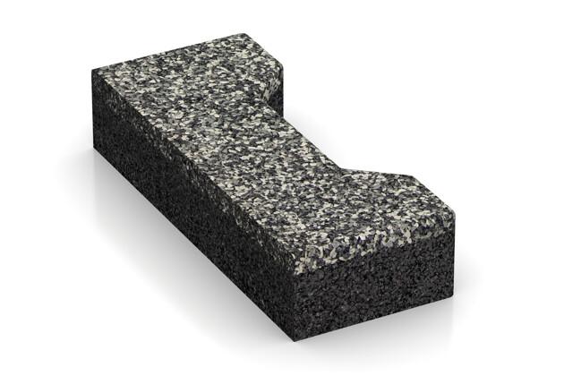 Verbundpflaster-Hälfte längs von WARCO im Farbdesign Grauer Granit mit den Abmessungen 200 x 82 x 43 mm. Produktfoto von Artikel 3693 in der Aufsicht von schräg vorne.