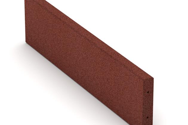 Gummi-Randstein (Tiefbord) von WARCO im Farbdesign ziegelrot mit den Abmessungen 1000 x 250 x 50 mm. Produktfoto von Artikel 2591 in der Aufsicht von schräg vorne.
