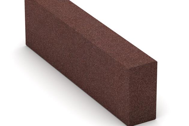 Gummi-Bordstein (Blockstufe) von WARCO im Farbdesign schokobraun mit den Abmessungen 1000 x 300 x 150 mm. Produktfoto von Artikel 2598 in der Aufsicht von schräg vorne.