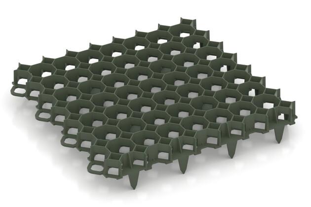 Rasengitter von WARCO im Farbdesign mattgrün mit den Abmessungen 476 x 476 x 40 mm   5,89 m². Produktfoto von Artikel 5206 in der Aufsicht von schräg vorne.