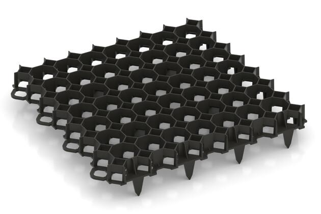 Bodengitter von WARCO im Farbdesign schwarz mit den Abmessungen 476 x 476 x 40 mm | 5,89 m². Produktfoto von Artikel 5208 in der Aufsicht von schräg vorne.