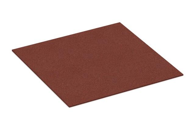 Gummigranulat-Platte von WARCO im Farbdesign ziegelrot mit den Abmessungen 1000 x 1000 x 7 mm. Produktfoto von Artikel 4306 in der Aufsicht von schräg vorne.
