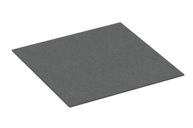 Gummigranulat-Platte von WARCO im Farbdesign schiefergrau mit den Abmessungen 1000 x 1000 x 7 mm. Produktfoto von Artikel 4308 in der Aufsicht von schräg vorne.