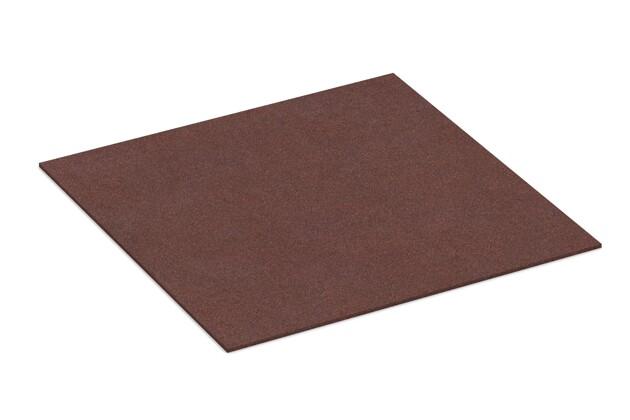 Gummigranulat-Platte von WARCO im Farbdesign schokobraun mit den Abmessungen 1000 x 1000 x 7 mm. Produktfoto von Artikel 4309 in der Aufsicht von schräg vorne.