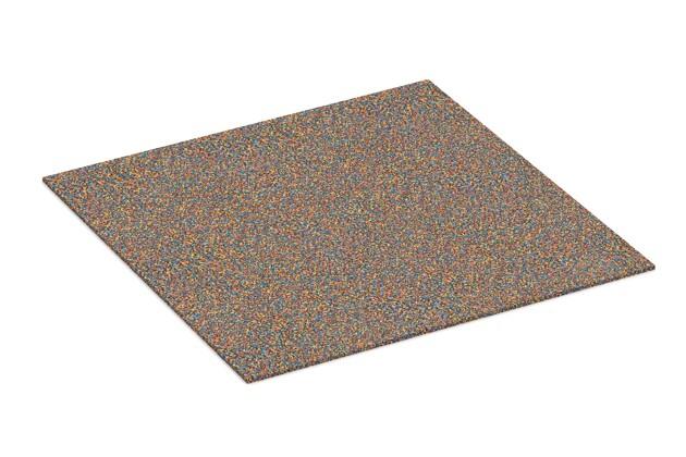 Gummigranulat-Platte von WARCO im Farbdesign Papagei mit den Abmessungen 1000 x 1000 x 7 mm. Produktfoto von Artikel 4315 in der Aufsicht von schräg vorne.