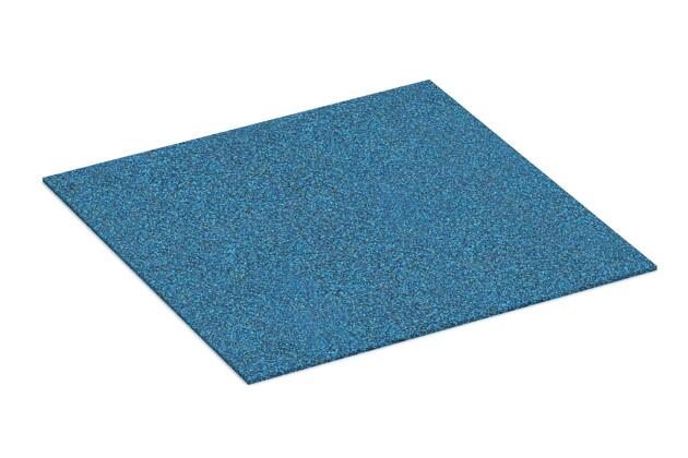 Gummigranulat-Platte von WARCO im Farbdesign Atlantik mit den Abmessungen 1000 x 1000 x 7 mm. Produktfoto von Artikel 4324 in der Aufsicht von schräg vorne.