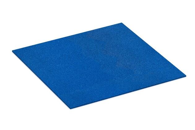 Gummigranulat-Platte von WARCO im Farbdesign Enzianblau mit den Abmessungen 1000 x 1000 x 7 mm. Produktfoto von Artikel 4382 in der Aufsicht von schräg vorne.