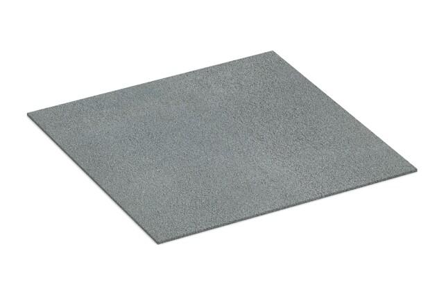 Gummigranulat-Platte von WARCO im Farbdesign Achatgrau mit den Abmessungen 1000 x 1000 x 7 mm. Produktfoto von Artikel 4386 in der Aufsicht von schräg vorne.