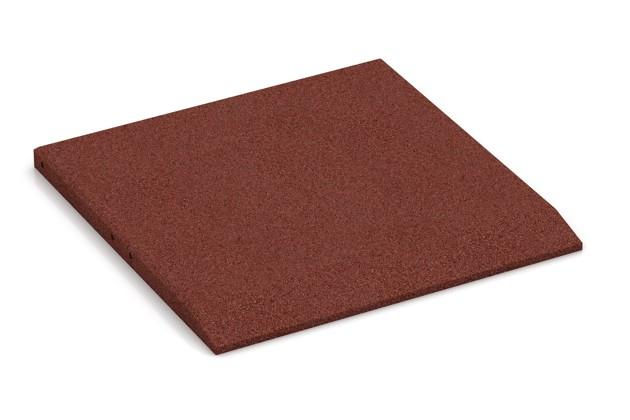 Rand-Platte (eine Seite abgeschrägt) von WARCO im Farbdesign ziegelrot mit den Abmessungen 500 x 500 x 30 mm. Produktfoto von Artikel 0420 in der Aufsicht von schräg vorne.