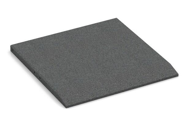 Rand-Platte (eine Seite abgeschrägt) von WARCO im Farbdesign schiefergrau mit den Abmessungen 500 x 500 x 30 mm. Produktfoto von Artikel 0424 in der Aufsicht von schräg vorne.