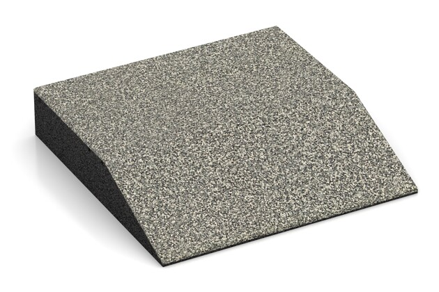 Rand-Platte (eine Seite abgeschrägt) von WARCO im Farbdesign Heller Granit mit den Abmessungen 500 x 500 x 100 mm. Produktfoto von Artikel 3813 in der Aufsicht von schräg vorne.