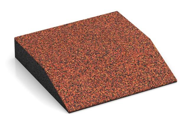 Rand-Platte (eine Seite abgeschrägt) von WARCO im Farbdesign Feuersglut mit den Abmessungen 500 x 500 x 100 mm. Produktfoto von Artikel 3818 in der Aufsicht von schräg vorne.