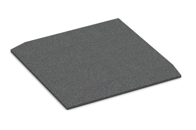 Eck-Platte (zwei Seiten abgeschrägt) von WARCO im Farbdesign schiefergrau mit den Abmessungen 500 x 500 x 30 mm. Produktfoto von Artikel 0466 in der Aufsicht von schräg vorne.