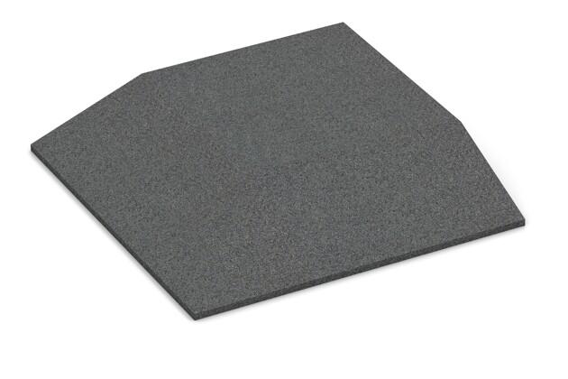 Eck-Platte (zwei Seiten abgeschrägt) von WARCO im Farbdesign schiefergrau mit den Abmessungen 500 x 500 x 80 mm. Produktfoto von Artikel 0496 in der Aufsicht von schräg vorne.