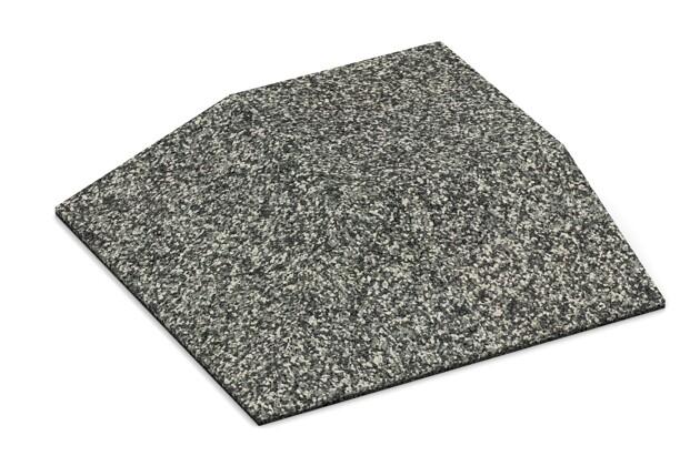 Eck-Platte (zwei Seiten abgeschrägt) von WARCO im Farbdesign Grauer Granit mit den Abmessungen 500 x 500 x 100 mm. Produktfoto von Artikel 3831 in der Aufsicht von schräg vorne.