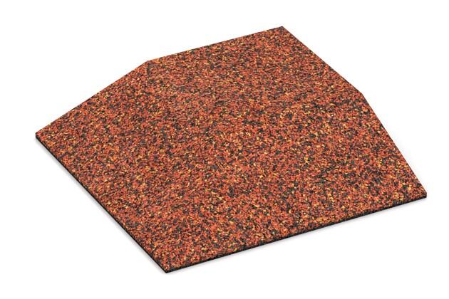 Eck-Platte (zwei Seiten abgeschrägt) von WARCO im Farbdesign Feuersglut mit den Abmessungen 500 x 500 x 100 mm. Produktfoto von Artikel 3824 in der Aufsicht von schräg vorne.