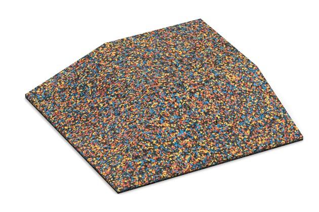 Eck-Platte (zwei Seiten abgeschrägt) von WARCO im Farbdesign Papagei mit den Abmessungen 500 x 500 x 100 mm. Produktfoto von Artikel 3828 in der Aufsicht von schräg vorne.