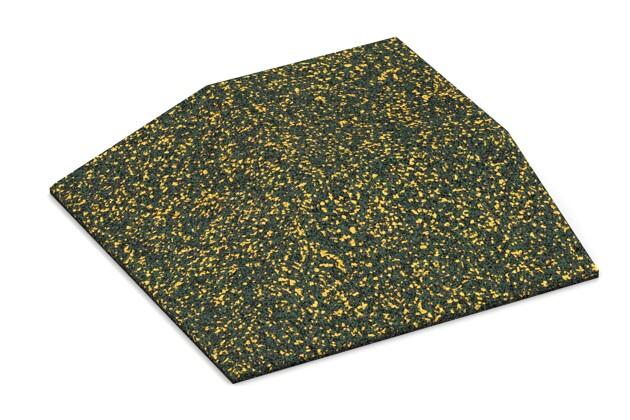 Eck-Platte (zwei Seiten abgeschrägt) von WARCO im Farbdesign Löwenzahn mit den Abmessungen 500 x 500 x 100 mm. Produktfoto von Artikel 3829 in der Aufsicht von schräg vorne.